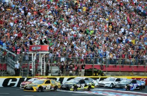 CHARLOTTE, NC - MAY 24:  Matt Kenseth, driver of the #20 DeWalt Toyota, leads the field through the green flag to start the NASCAR Sprint Cup Series Coca-Cola 600 at Charlotte Motor Speedway on May 24, 2015 in Charlotte, North Carolina.  (Photo by Jared C. Tilton/Getty Images)