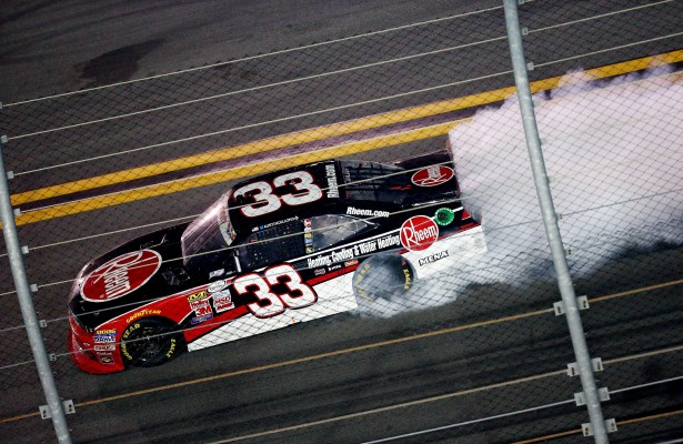 DAYTONA BEACH, FL - JULY 04:  Austin Dillon, driver of the #33 Rheem Chevrolet, celebrates with a burnout after winning the NASCAR XFINITY Series Subway Firecracker 250 Powered By Coca-Cola at Daytona International Speedway on July 4, 2015 in Daytona Beach, Florida.  (Photo by Sarah Crabill/NASCAR via Getty Images)
