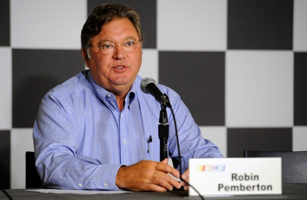 BROOKLYN, MI - AUGUST 15:  Robin Pemberton, vice president for competition of NASCAR, speaks with the media during a press conference prior to practice at Michigan International Speedway on August 15, 2014 in Brooklyn, Michigan. The press conference noted rule changes to after on-track incident policies.  (Photo by Jared C. Tilton/Getty Images)