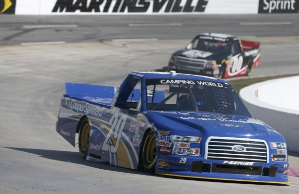 MARTINSVILLE, VA - OCTOBER 30:  Austin Cindric, driver of the #29 Cooper Standard Ford, practices for the NASCAR Camping World Truck Series Kroger 200 at Martinsville Speedway on October 30, 2015 in Martinsville, Virginia.  (Photo by Brian Lawdermilk/NASCAR via Getty Images)