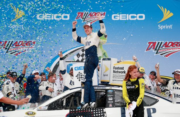 TALLADEGA, AL - MAY 01:  Brad Keselowski, driver of the #2 Miller Lite Ford, celebrates in Victory Lane after winning the NASCAR Sprint Cup Series GEICO 500 at Talladega Superspeedway on May 1, 2016 in Talladega, Alabama.  (Photo by Matt Sullivan/NASCAR via Getty Images)