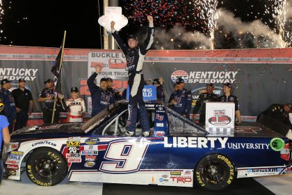 SPARTA, KY - JULY 07:  William Byron, driver of the #9 Liberty University Toyota, celebrates in Victory Lane after winning the NASCAR Camping World Truck Series Buckle Up In Your Truck 225 at Kentucky Speedway on July 7, 2016 in Sparta, Kentucky.  (Photo by Jerry Markland/Getty Images)