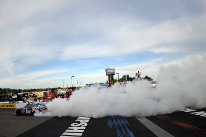 LOUDON, NH - JULY 16:  Kyle Busch, driver of the #18 NOS Energy Drink Toyota, celebrates with a burnout after winning the NASCAR XFINITY Series AutoLotto 200 at New Hampshire Motor Speedway on July 16, 2016 in Loudon, New Hampshire.  (Photo by Jonathan Moore/Getty Images)