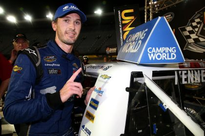 BRISTOL, TN - AUGUST 17:   Ben Kennedy, driver of the #33 Jacob Chevrolet, poses with the winners sticker after winning the NASCAR Camping World Truck Series UNOH 200 at Bristol Motor Speedway on August 17, 2016 in Bristol, Tennessee.  (Photo by Sean Gardner/NASCAR via Getty Images)