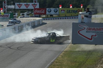 BOWMANVILLE, ON - SEPTEMBER 04: John H Nemechek, driver of the #8 NEMCO Motorsports Chevrolet, celebrates his victory by doing a burnout at Canadian Tire Motorsport Park on September 4, 2016 in Bowmanville, Canada. (Photo by Tom Szczerbowski/NASCAR/NASCAR via Getty Images)